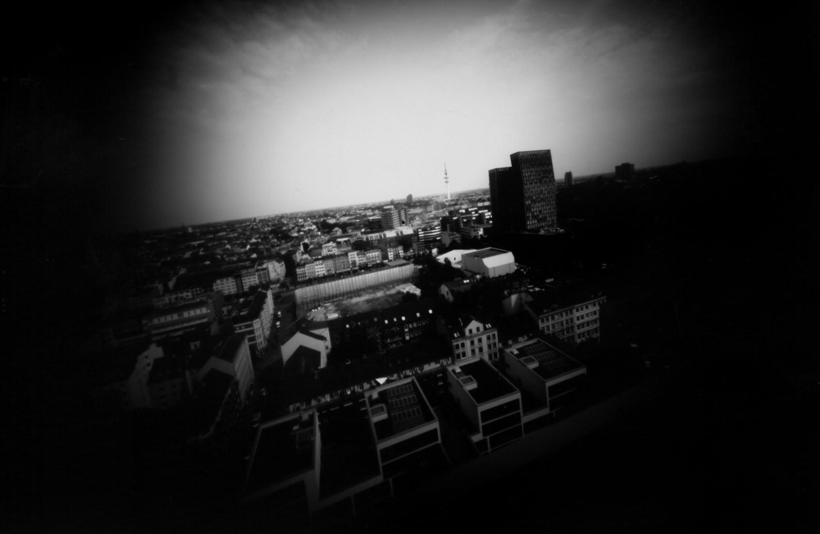 Hamburg, St. Pauli von oben fotografiert, Lochkamera Fotografie