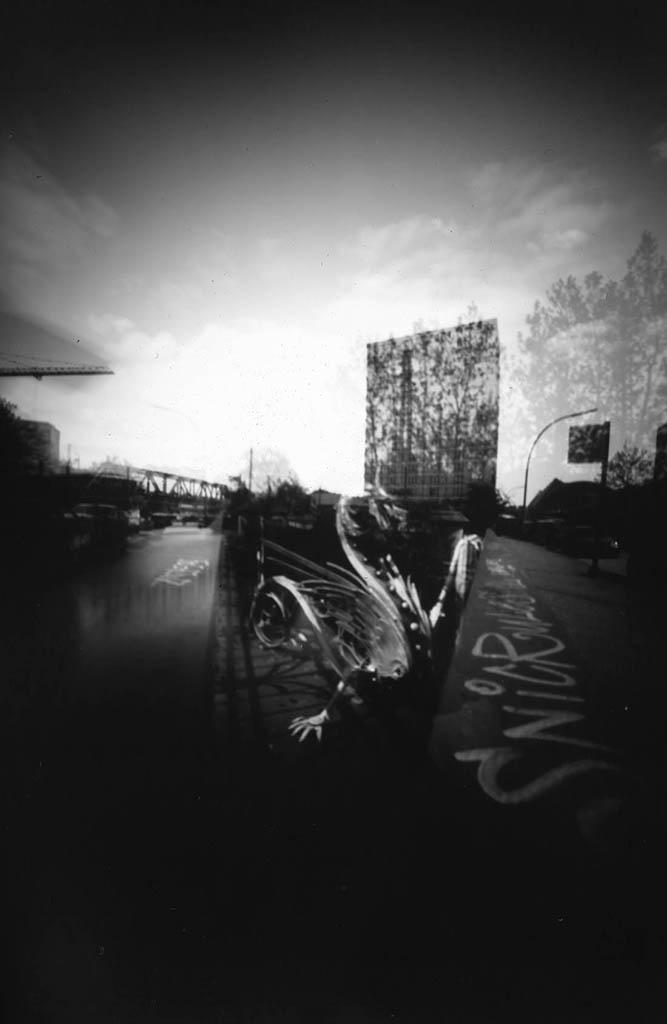 Doppelbelichtung der ersten Banksbrücke Hamburg fotografiert mit einer obscuren Camera