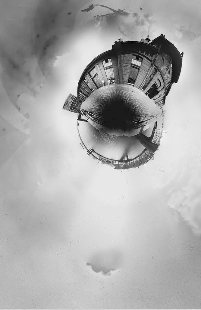 Die Fischauktionshalle Hamburg fotografiert mit einer 360° Lochkamera als Little Planet