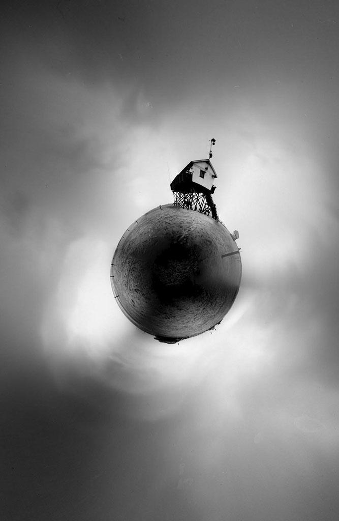 Sankt Peter-Ording fotografiert mit einer Lochkamera und zu Kugel gebogen