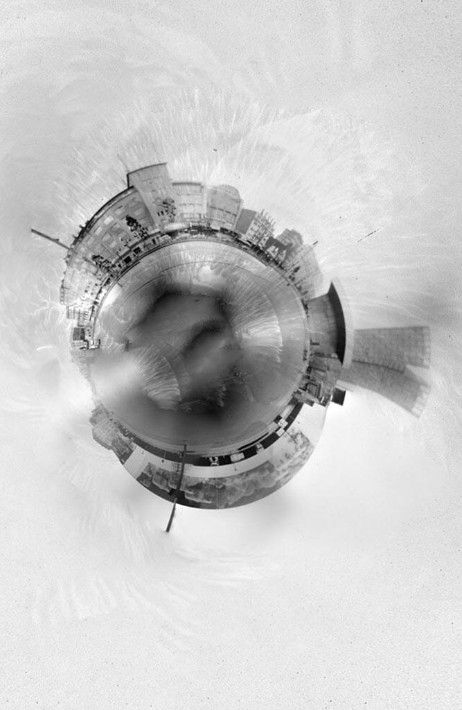 Spielbudenplatz Hamburg fotografiert mit einer 360 Grad Lochkamera
