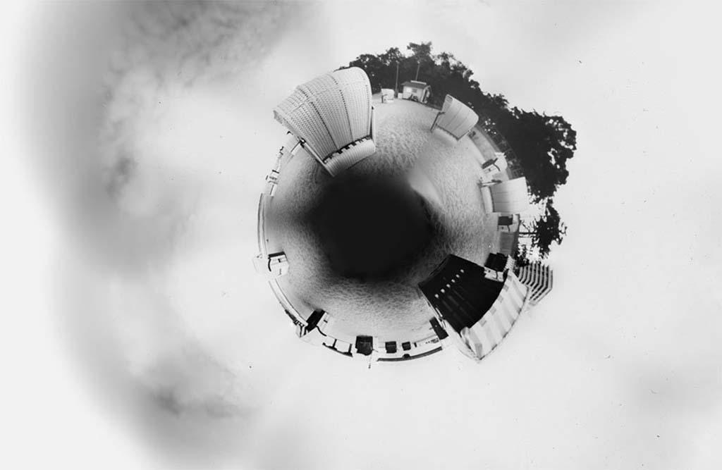 Timmendorfer Strand fotografiert mit einer Lochkamera und zu einem Little Planet gebogen